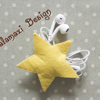 Handmade Star Earphone Cord Organizer  Felt Star Cable Keeper Yellow Star Cable Organizer