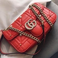 GUCCI New fashion more pearl leather chain shoulder bag crossbody bag Red