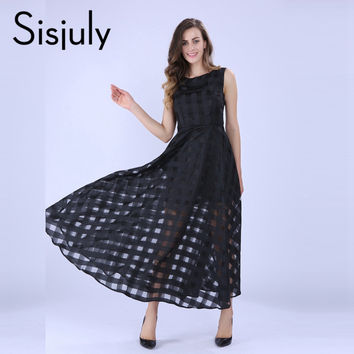 Sisjuly 2016 Maxi Summer Plaid Women Dress New Long Organza day Dress Vestidos De Festa Satin Fashion style black women dresses