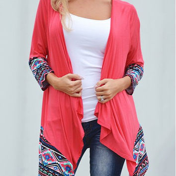 Geometric Print Paneled Collarless Cardigan
