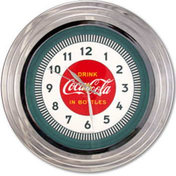 Drink Coca-Cola ® Chrome Retro Wall Clocks Coke ® Clock RetroPlanet.com