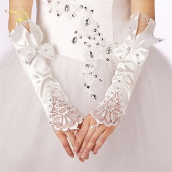White Bridal Gloves Long Satin Design Lucy Refers Wedding Lace Gloves Diamond Bow Wedding Gloves Accessories G008