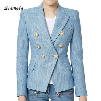 New Fashion Light Blue Long Sleeve Linen Blazers 2017 Gold Button Double Breasted Notched Women Blazers Designer Runway Jacket