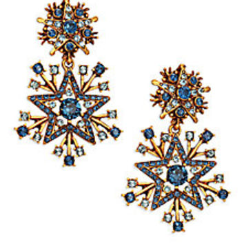 Oscar de la Renta - Crystal Stars Clip-On Drop Earrings - Saks Fifth Avenue Mobile