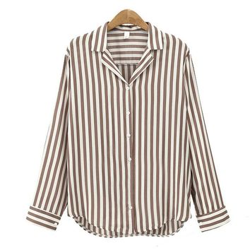 New Autumn Casual Ladies Blouse Shirt V-Neck Long Sleeve Work Shirts Women office Tops Striped Blouse for Business