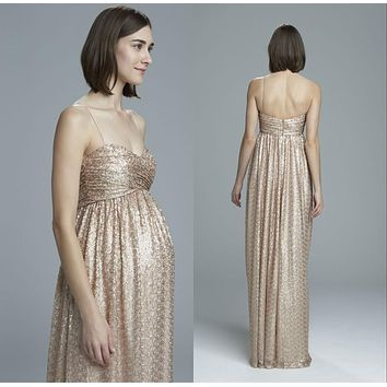 2016 Maternity Bridesmaid Dresses Honor Of Maid Formal Gown With Spaghetti Straps Backless Sequins Lace Rose Gold Long Cheap