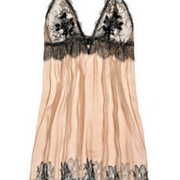 Jenny Packham | French lace and silk-chiffon chemise | NET-A-PORTER.COM