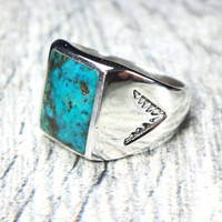Vintage Turquoise Sterling Silver Ring Sterling Native American Turquoise Ring Statement Ring Vintage Turquoise Ring Genuine Turquoise Mens