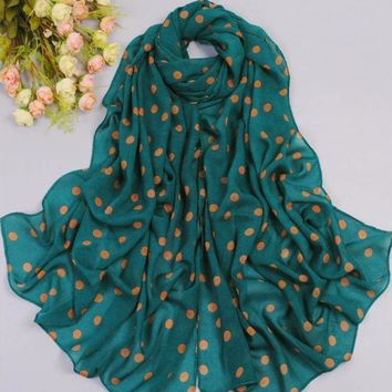 Spring and Autumn Polka Dot Chiffon Women Scarf