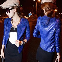 Spring Autumn Women PU Leather Jackets Coat ladies lace slim water washed Zipper Motorcycle Jackets Feminina HO668699