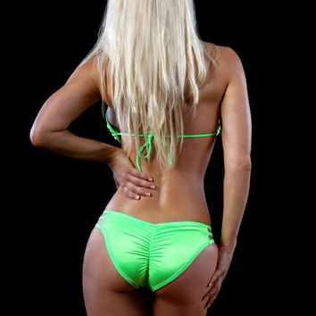 Women's Sexy Neon Green Striped Side Scrunch Back Bikini Swimsuit, GreenSwimsuit, Swimwear, Miami Swimsuits, Sexy Bikini, Brazilian Bikini