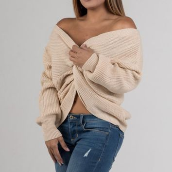 Cream Knot Knit Sweater