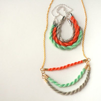Taupe, Teal & Tangerine Cotton Candy Tiered Rope Necklace
