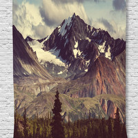 Ambesonne Alaska Mountains Decor Collection, Arctic Landscape Wilderness and Hiking Mountain in USA Picture, Bedroom Living Kids Girls Boys Room Dorm Accessories Wall Hanging Tapestry, Green Blue