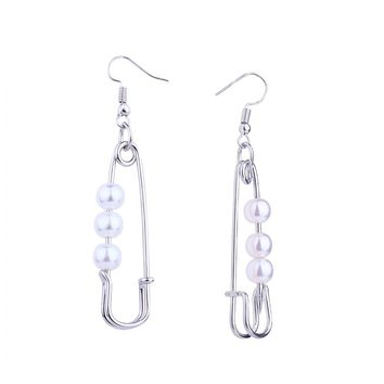 Safety Pin Earrings with Pearls - Silver
