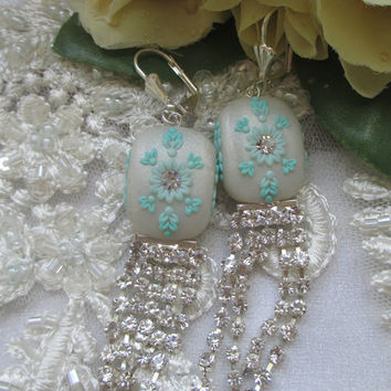 Ivory Earrings for bride with Crystals by Lena Handmade Jewelry Bridesmaid Bridal Jewelry Handmade Crystal Chain
