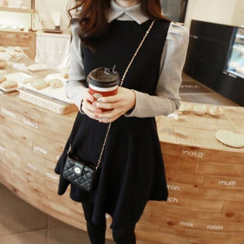 Winter Korean Slim Knit Mosaic One Piece Dress [4919456900]