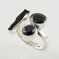 Black Tourmaline Rough & Black Onyx Adjustable Sterling Silver Ring