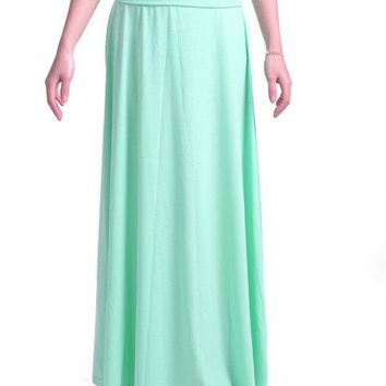 HDE Women's Solid Color Jersey Knit Full Length Casual Fold Over Maxi Skirt