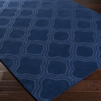 Mystique Area Rug | Blue Solids and Borders Rugs Hand Loomed | Style M5403