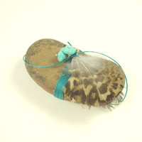 Masculine Spirit Stone Turquoise Grouse Feathers