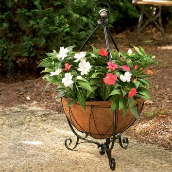 Pride Garden Products 14 in. Yorkshire Decorative Plant Stand with Coco Liner-99136 at The Home Depot