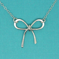 Bow necklace 925 sterling silver necklace, birthday gift for her, silver bow pendant, gift for girl jewelry, infinity necklace