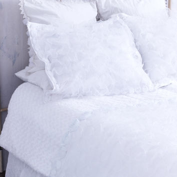 Whimsical All White Ruffled Bedding with Rosettes