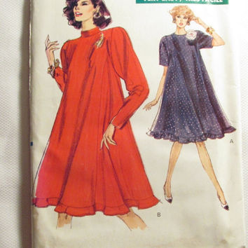 SALE Uncut 1980's Very Easy Vogue Sewing pattern, 7381! 20-22-24 Women's/Misses/Couture/Very Loose Fitting Flared Dress/Raglan Sleeves with