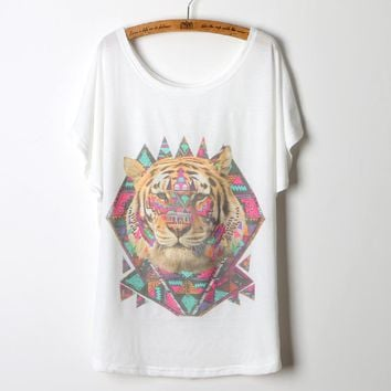 2017 Real Time-limited Unicorn Tops Summer Female T-shirt Women Tiger Head 3d Graphic Shirts Batwing Sleeve O-neck Clothing Tee