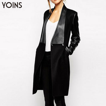YOINS Autumn Winter 2016 New Fashion Women Slim Woolen Duster Coat Casual PU Sleeve Patchwork Long Coat Long Overcoat Outerwear