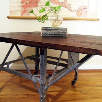 Industrial Coffee Table Cart On Casters by twentytimesi on Etsy