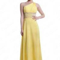 Moonar® Yellow One Shoulder Chiffon Long Prom Gown Evening Dress