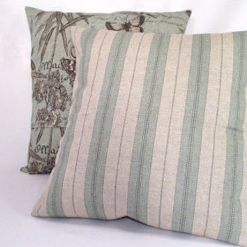 Pillow Cover Blue Striped Linen Fabric by whiteoakroom on Etsy