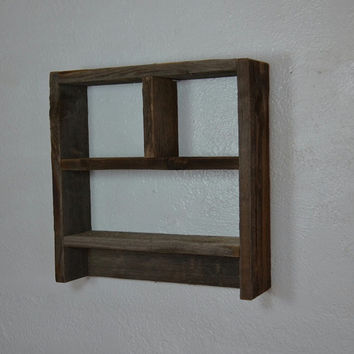 Natural patina  wood shadow box style wall shelf 14x14