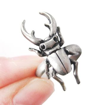 Realistic Stag Beetle Insect Bug Adjustable Animal Ring in Silver | DOTOLY