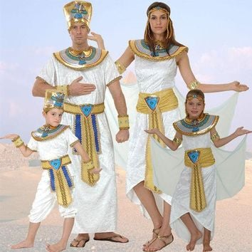 DCCKHY9 Egypt Queen Costumes Princess Royal Golden Women Men Costume Masquerade theme Party adult halloween cosplay kids child clothing