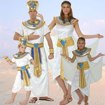 ONETOW Egypt Queen Costumes Princess Royal Golden Women Men Costume Masquerade theme Party adult halloween cosplay kids child clothing
