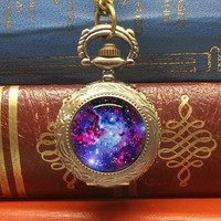 Galaxy pocket watch necklace