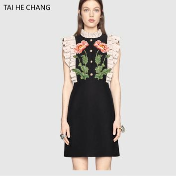 2018 spring summer women high-end new fashion vestidos bodycon vintage runway party embroidery flower dress sleeveless