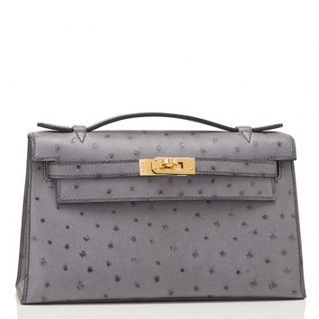 Hermes Gris Agate Ostrich Mini Kelly Pochette Gold Hardware