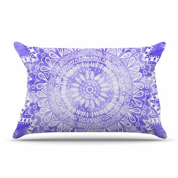 "Nika Martinez ""Boho Flower Mandala in Purple"" Lavender Pillow Case"