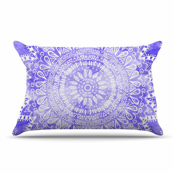 "Nika Martinez ""Boho Flower Mandala in Purple"" Lavender Pillow Sham"
