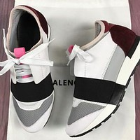 BALENCIAGA Popular Women Men Personality Color Matching Casual Shoes Red/White/Grey/Black I-OMDP-GD