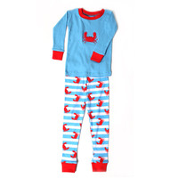 Crabs n' Stripes Two Piece Applique Pajamas