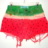 Watermelon Inspired High Waisted Ombre Shorts