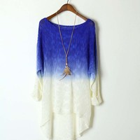 Gradient Sweater,Blue With Irregular Gradient Long Sleeved Bat Dovetail Sweater
