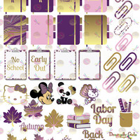 50% OFF Sale! DIY September Printable Planner 31 School Holiday Stickers Sheet 6 of Kit PDF& Jpeg Erin Condren Life Planner Kikkik Filofax