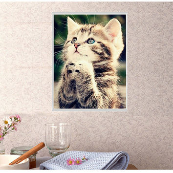 5D Naughty Kitten Cat DIY Diamond Painting Cross Stitch Embroidery Home Decor Wallpapers