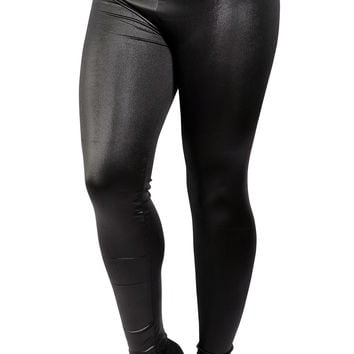 Black Faux Leather High Waist Leggings Design 250